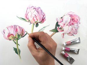 Shevaun Doherty Artist hand painting pink peony flowers